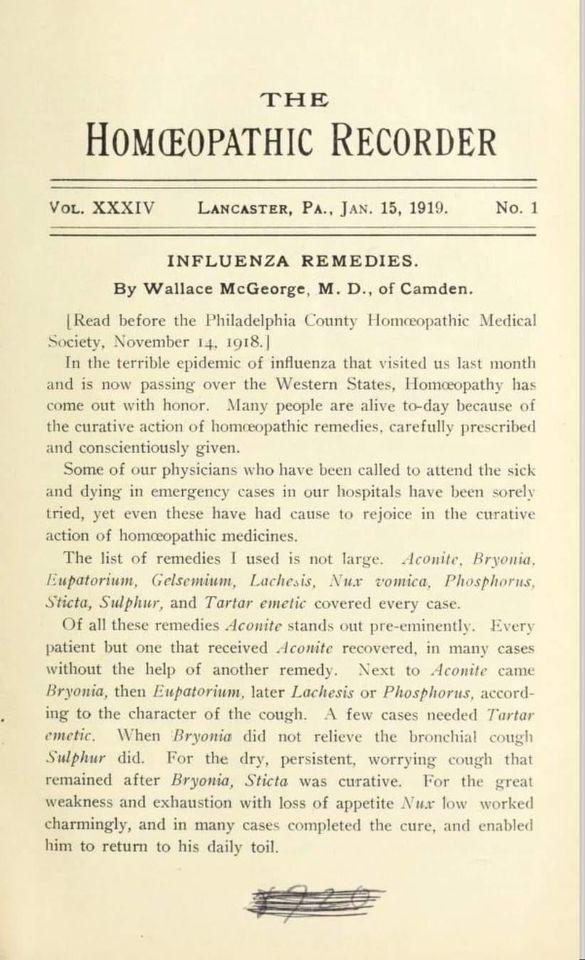 Remedios Homeopáticos en Gripe 1918